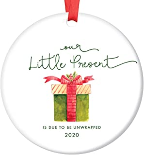Little Present Christmas Ornament Baby Due Date 2020 Festive Ceramic Holiday Keepsake Expecting Parents Family Surprise Pregnancy Announcement 3