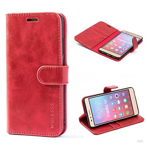 Mulbess Handyhülle für Honor 5X Hülle, Leder Flip Case Schutzhülle für Huawei Honor 5X Tasche, Wein Rot