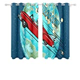 WDDHOME Window Coverings Astronaut Electric Car Over Planet Earth Blackout Curtains 54 Inches Long Thermal Insulated Colorful Printed Cute Curtains For Bedroom Living Room 2 Panel Set 54x5