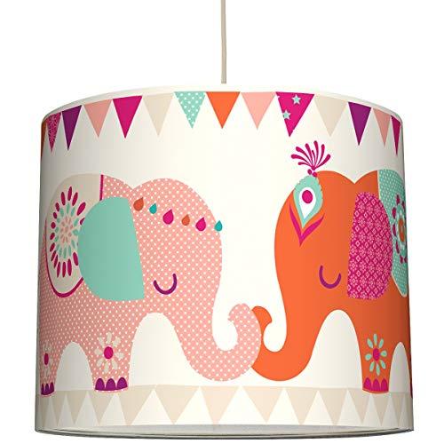Anna Wand Hängelampe Elefanten Girls 4 – Lampenschirm für Kinder/Baby Lampe mit indischen Elefanten – Sanftes Kinderzimmer Licht Mädchen & Junge – ø 40 x 34 cm