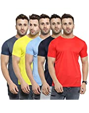 AWG ALL WEATHER GEAR Men's Polyester Round Neck T-Shirts - Pack of 5