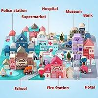 Lewo 115 Blocchi di Costruzione con Mappa della Città Set da Costruzione in Legno Blocchi di Costruzione della Città Impilabili Giocattoli di Apprendimento Educativo Prescolare per 3 4 5 Anni Bambini #3