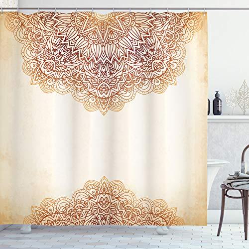 "Ambesonne Victorian Shower Curtain, Oriental Vintage Ornate Pattern Autehntic Style Mandala Artwork Print, Cloth Fabric Bathroom Decor Set with Hooks, 84"" Long Extra, Beige"