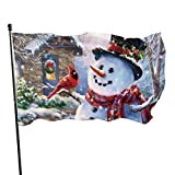 GOSMAO Bandera de jardín Bandera, muñeco de Nieve Rojo Scraf Colores Vivos y Resistente a la decolor...
