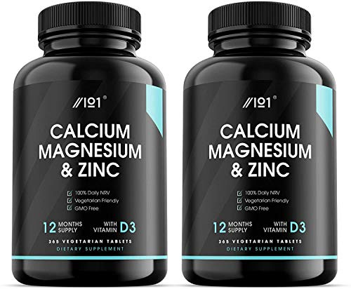 Calcium Magnesium Zinc & Vitamin D3 Tablets - 1 Year Supply, 365 Vegetarian Capsules - 3rd Party Lab Tested for Purity & Potency, No Additives — Non-GMO, Gluten Free. (2 Pack)