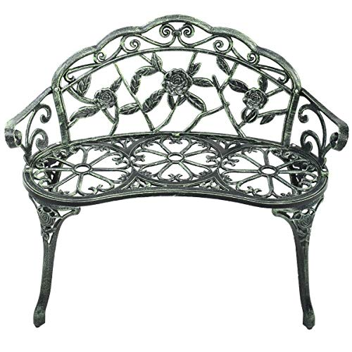 Heize Best Price Antique Green Outdoor Garden Bench Chair Loveseat Cast Aluminum Patio Antique Rose Seat Furniture(U.S. Stock)