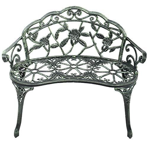 Heize Best Price Antique Green Outdoor Garden Bench Chair Loveseat Cast Aluminum Patio Antique Rose Seat Furniture(U.S. Stock)