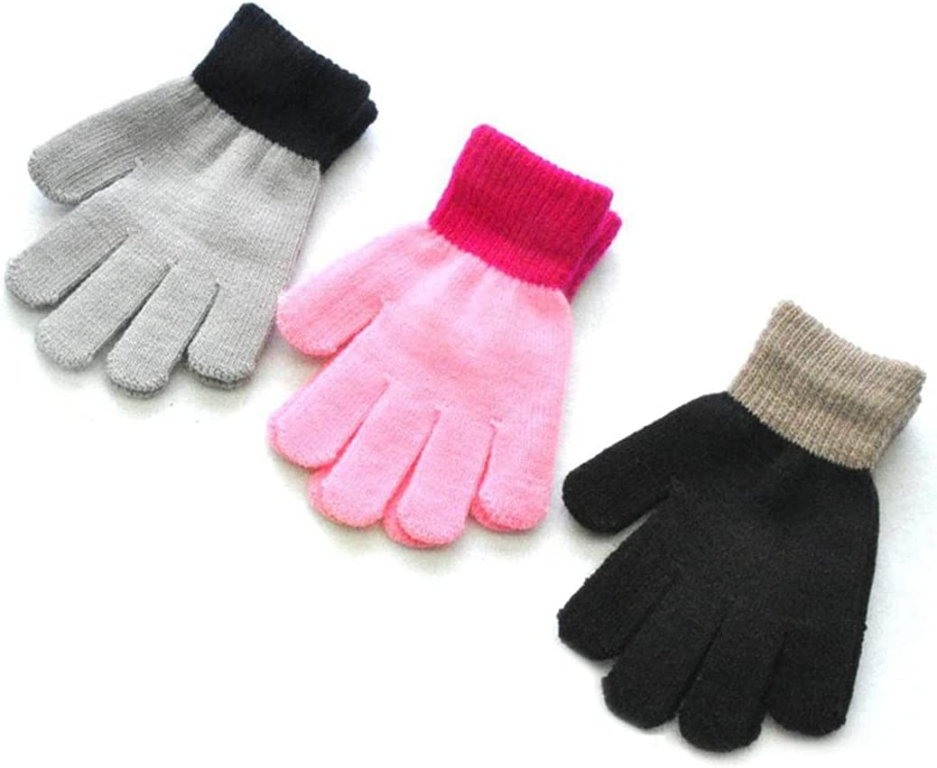 Lnrueg Winter Gloves 3 Pairs Stretchy Protective Smooth Outdoors Gloves Full Fingers Gloves for Kids Decorative Nonskid