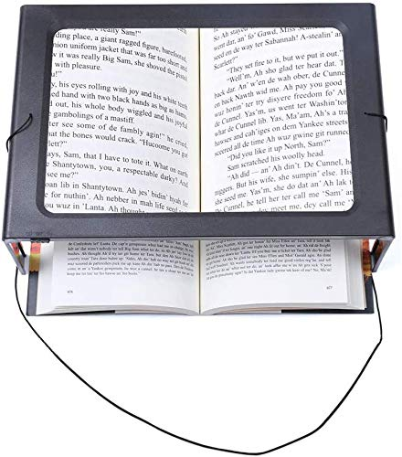 XXYL LED Lupen 3X Tischlupe mit Licht - A4 Leselupen für Senioren Groß Rechteckiges Standlupe mit Klappständer Lesehilfen zum Lesen Büchern, Magazinen, Zeitungen, Schmuck, Landkarten