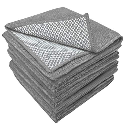 S&T INC. 325201 Microfiber Dish Cloths for Washing Dishes, Rags for Kitchen Cleaning With Poly Scour Scrubbing Side, Grey, 12 Inch x 12 Inch, 10 Pack