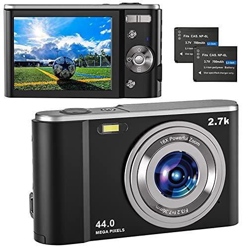 Digitalkamera 2.7K UHD, Vlogging Fotokamera 44MP für Streaming-Video Aufnehmen, Kompaktkamera mit 2.8\'\' IPS 16X Digital Zoom und 2 Batterien, Fotoapparat Digitalkamera für Kinder/Jugendliche/Anfänger