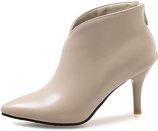 64fd31c8c0be9a OALEEN Bottines Femme Sexy Talon Aiguille Effet Cuir Chaussures Boots  Pointu Hiver Soirée