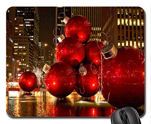 Whecom Premium Mauspad Gaming for Computers Red Christmas Tree Ornaments - New York City Gaming Mauspad, Mousepad (Monuments Gaming Mauspad)