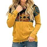 N\P Suéter deportivo con capucha y cuello alto para mujer con estampado suelto