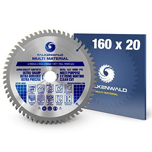 FALKENWALD ® Sägeblatt 160x20 mm - Ideal für Holz, Metall & Alu - Kreissägeblatt 160x20 kompatibel als Festool Sägeblatt TS55 & Bosch - Multi Kreissägeblatt 160 - Handkreissägeblatt 160x20