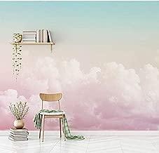 Raiev 5D/8D Custom Pink Cloud 3D Cartoon Sky Wallpaper Murals for Walls Girls Baby Room 3D Cartoon Mural 3D Wall Paper Sky Sticker-D