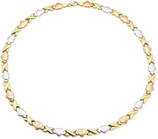14K Tri-Color Yellow White Rose Gold &