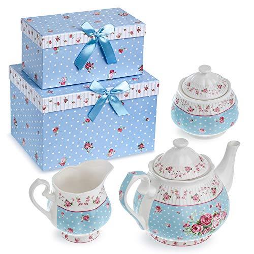 London Boutique Teiera in Porcellana con zuccheriera e lattiera in Stile Shabby Chic Vintage Floreale, in Confezione Regalo (Blu)