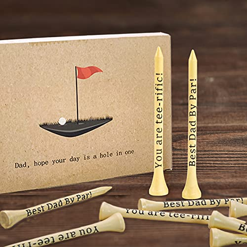 Dad Gifts, Gifts for Dad, Father's Day Gifts- Best Dad By Par, You are tee-rific, 3-1/4 inch Wood Golf Tees Bulk, Christmas Birthday Gifts from Daughter Son, Present for Men Step-dad Grandpa