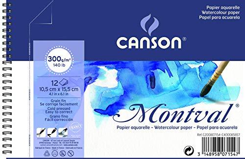 'Canson Blocco a spirale AQ Montval Fein Acquerelli, 300G/MQ, 12fogli per blocco'spirale sul lato corto, Bianco 10.5 x 15.5 cm bianco