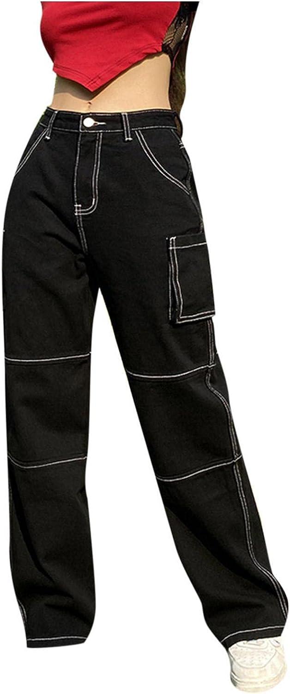 Y2K Fashion Jeans,Women's Loose High Waist Jeans Long Straight Denim Pants Baggy Trousers Cargo Jeans E Girls Streetwear
