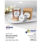 Avery Printable Round Labels with Sure Feed, 2.5' Diameter, Glossy White, 90 Customizable Labels (22830)
