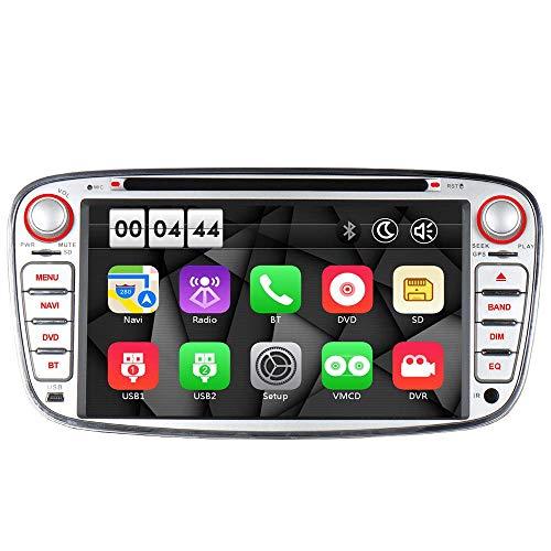 "16GB Radio Navi DVD GPS USB SD Bluetooth Autoradio CD Dual-Zone Subwoofer-Output DAB+ Mirrorlink VMCD mp3 mp4 7"" Touch Screen für F ord Mondeo mk4, Focus mk2, Cmax Smax Galaxy Kuga (Silber)"