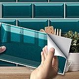 Hiser Adhesivos Decorativos para Azulejos Pegatinas para Baldosas del Baño/Cocina Serie de Piedras Preciosas de Color sólido 3D Resistente al Agua Pegatina de Pared (Turquesa,54 Piezas)
