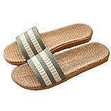 Zapatillas para Mujer Hombre Unisex Zapatillas de Estar por Casa de Lino Interior Sandalias de Playa Verano Primavera Otoño(Verde,39-40)
