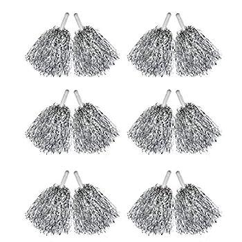 Hooshing 12 Pcs Pom Poms Cheerleading Metallic Foil Cheer Pom Poms with Plastic Handles for Team Sports Silver Update