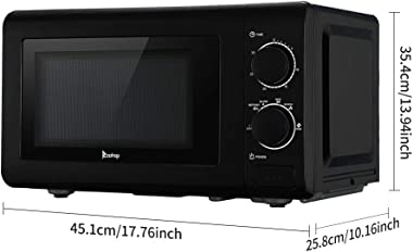 Microwave Oven Countertop 700W 0.7cuft/20L Six Power levels   360°Rotating   Mechanical Conventional Knob/Button Door Switch