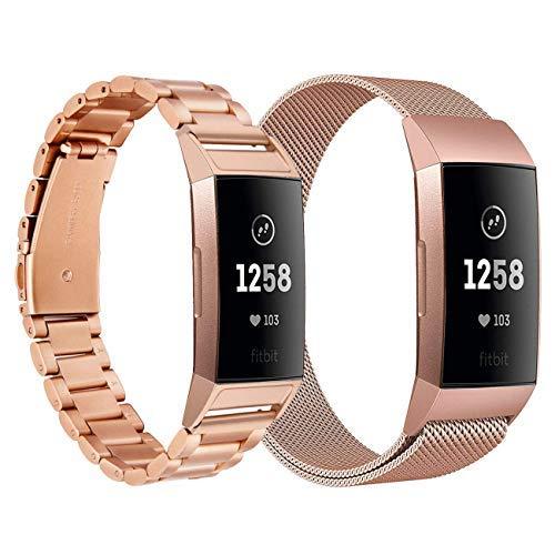 CAGOS Fitbit Charge 3フィットネストラッカーレディース男性用メタルストラップ互換性のある充電3およびCharge 3 SEメッシュステンレススチール交換ストラップ(メタル+メッシュローズピンクSコード)