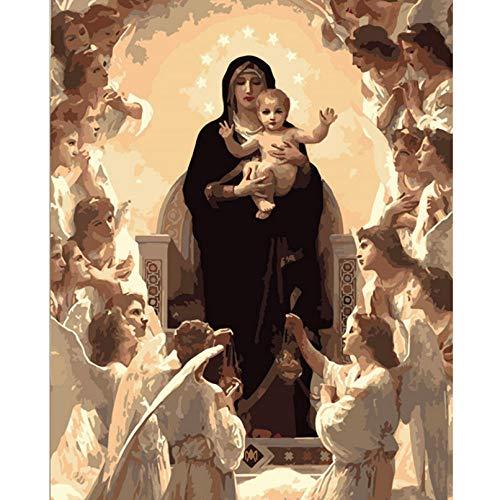 Asbjxny Figura de la Virgen María DIY Pintura digital por números Arte moderno de la pared Pintura de la lona Regalo único de Navidad Decoración para el hogar