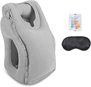 AirGoodsトラベルピロー エアーピロー、空気まくら 旅行用ピロー、アイマスク及び耳栓付、オフィス休憩や飛行機旅行やドライブ時に使用 (グレー)