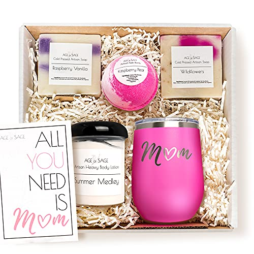 Mom Gift Box Spa Set - Wine Tumbler, Bathbomb, 2x Scented Soap Bars, Body Lotion, and Card Bath Set - Relaxing Kit Gift for Women, New Mom, Mother's, Madre by Age of Sage