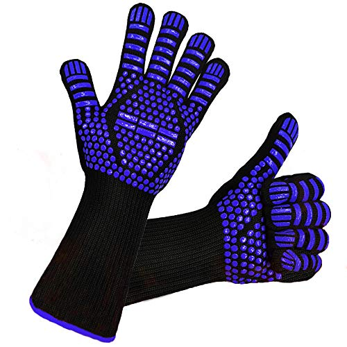 BBQ heat gloves, Grilling Gloves with Cut Resistant, 1472°F Extreme Heat Resistant Gloves BBQ Kitchen Silicone Oven Mitts for Cooking, Grill, Frying, Baking, Barbecue-1 Pair