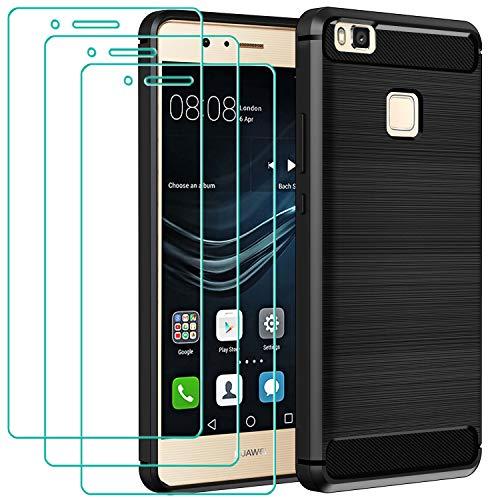 iVoler Cover per Huawei P9 Lite + 3 Pezzi Pellicola Vetro Temperato, Fibra di Carbonio Custodia Protezione in Morbida Silicone TPU Anti-Graffio e Antiurto Protettiva Case - Nero