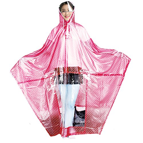 Milya Regenjacken Damen Regen Poncho mit Kapuze wasserdicht Regenmantel mit Doppel Hut Krempe PVC Atmungsaktive Regenbekleidung