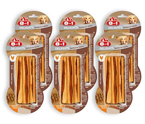 8in1 Delights BBQ Sticks, gesunder fein geräucherter Kausnack für Hunde, 6er Pack (6 x 75g)