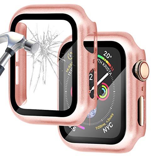 Falandi Carcasa rígida de oro rosa compatible con Apple Watch Series 5/4, carcasa de 40 mm con protector de pantalla, cubierta dura chapada en vidrio templado, cobertura completa para iWatch, oro rosa