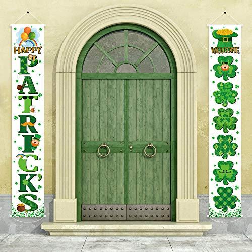 Blulu Signo de Porche de San Patricio Pancarta de Trébol Irlandesa Colgante de Porche de Welcome Happy St Patrick's Day para Casa Pared Interior Exterior Vacación Decoraciones de Fiesta