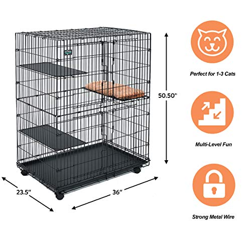 MidWest Cat Playpen / Cat Cage Includes 3 Adjustable Resting Platforms, Removable Leak-Proof Pan, Easy 2-Door Top / Bottom Access & 4-locking Wheel Casters
