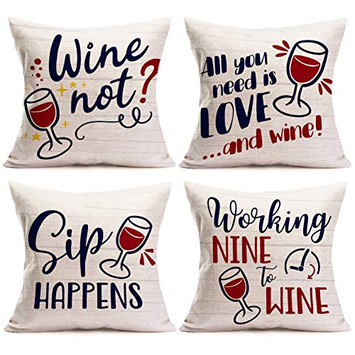 Asamour All You Need is Love and Wine Funny Letters Series Cotton Linen Throw Pillow Case Cushion Cover Square Pillowcase Home Sofa Decorative 18''x18'' Set of 4,Best Gift for Wine Lover