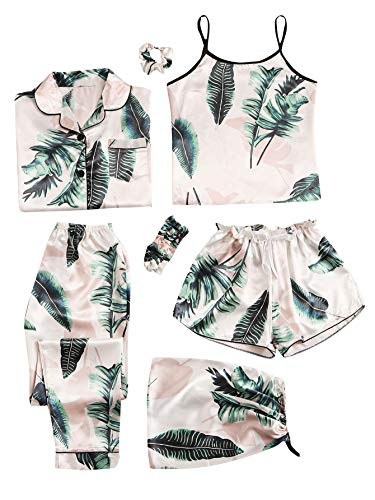 SheIn Women's 7pcs Pajama Set Cami Pjs with Shirt and Eye Mask Pink and Green Large