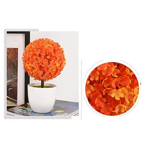 Fansi Unechte Grüne Topfpflanze Künstliche Deko Blume Kunststoff TopfPflanzen Kreativer Miniball vergossen Draussen Balkon Topf Hochzeit Garten Dekoration - 3