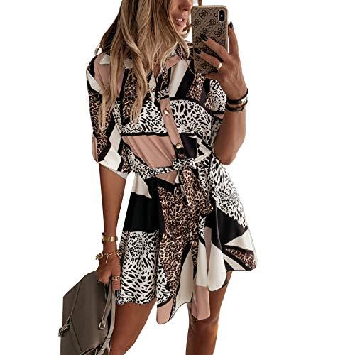 Loalirando Abito Donna Maniche Lunghe Stampa Leopardato Camicia Elegante Donna Ufficio Casual Cerimonia (Multicolore, S)