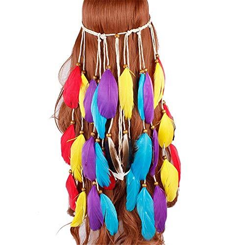 Sumferkyh Bande de Cheveux frangée Coiffure Nationale en Plumes du Vent Chapeau Chapeau Coiffure pour Coiffe de Mariée ave