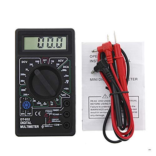 Medidor universal digital Multímetro digital LCD DC VOLTMETER AMMETER OHM TESTER Seguro y exacto (Color : Black)