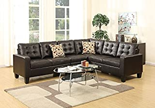 Poundex Bobkona Roxana Bonded Leather 4Piece Left or Right Hand Reversible SECTIONAL Set in Espresso