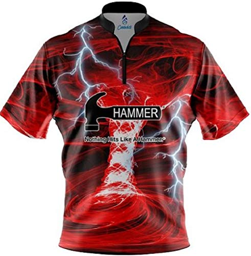 CoolWick Hammer Electrical Tornado Red Quick Ship Sash Zip Bowling Jersey (XL)